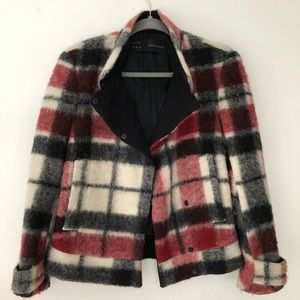Zara Basic Red Black White Plaid Jacket